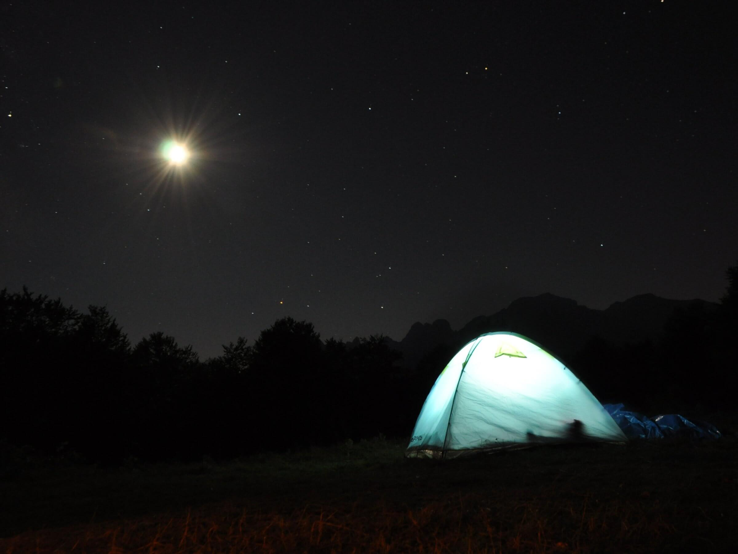 tent, night, mountains